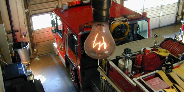 112 year old lightbulb - Livermore-Pleasantville Fire Department, California