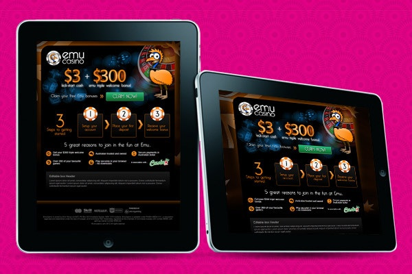 Emu Casino Splash Page by Design Code Play , via Behance