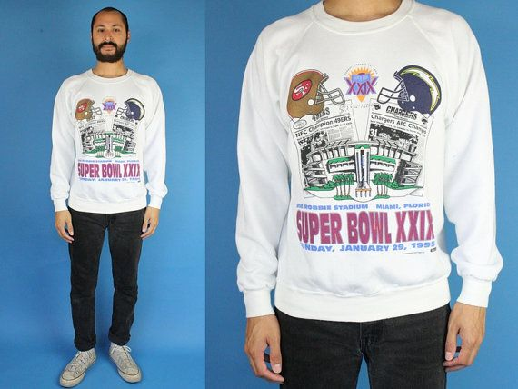 Super Bowl XXIX 1995 Miami Florida 49ers vs Chargers Vintage 90s Crewneck Sweatshirts Large XL San Francisco 49ers Versus Chargers Game by DiveVintage from Passport Vintage. Find it now at http://ift.tt/2fpiYPN!