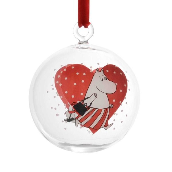 Decorate your home with these lovely red Christmas balls that feature beloved Moomin characters.