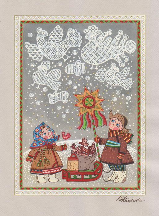 Просмотреть иллюстрацию Снежные узоры из сообщества русскоязычных художников автора Марина Федорова  в стилях: Декоративный, Детский, нарисованная техниками: Акварель, Гуашь.