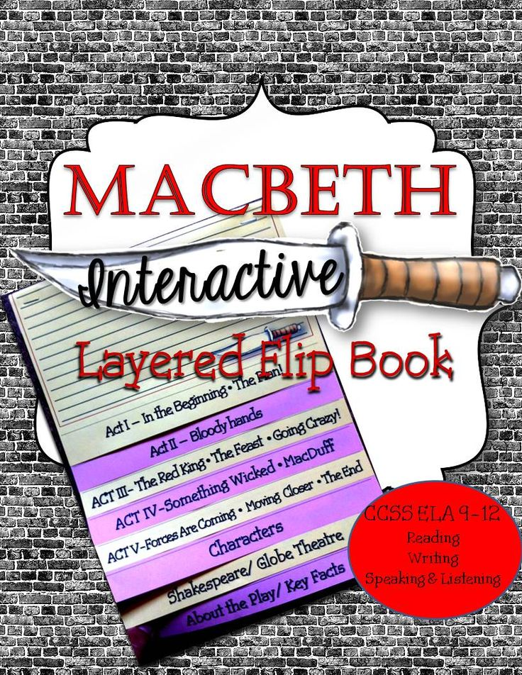 """Macbeth: Interactive Layered Flip Book 8 pages – each """"flap"""" is ¾ inch and is ready for your students to easily line up by using the directions on how to assemble the organizer. Formatted so you and your students will have to make one fold! Answer Key / Teacher Notes for  About the Play, Shakespeare, Setting, Key Facts, 3 Apparitions. Aligned and Outlined ELA Common Core State Standards, 9-12 Reading, Writing, Speaking and Listening"""