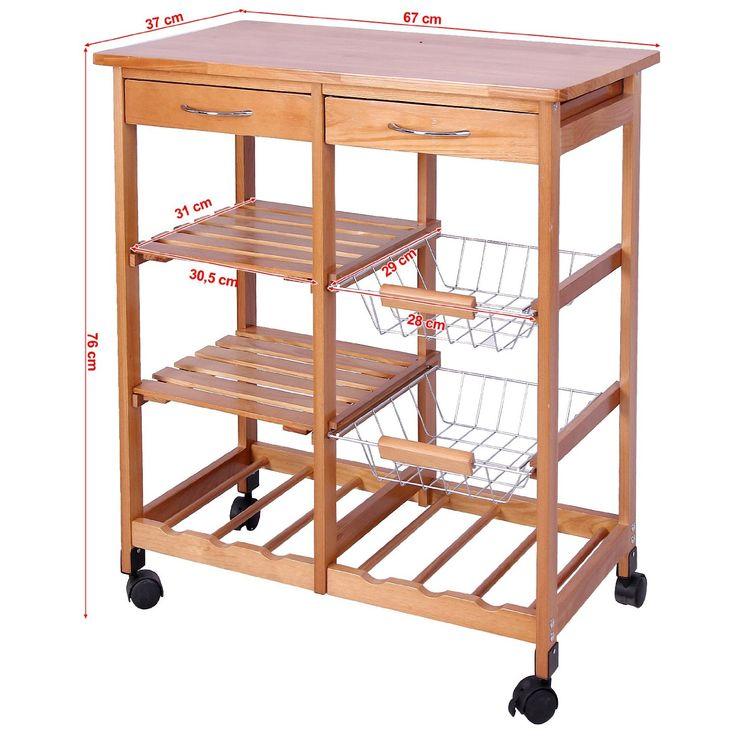 Songmics carrito de cocina con encimera de madera mesa for Mesas de cocina con ruedas