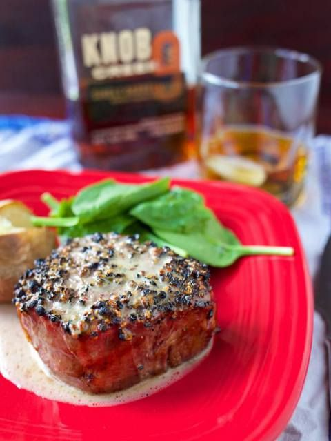 Grilled Filet Mignon with Knob Creek® Bourbon Peppercorn Sauce
