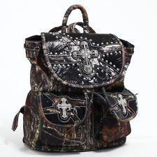 Mossy Oak Studded Camo Backpack w/ Rhinestone Cross & Floral Trim - Black