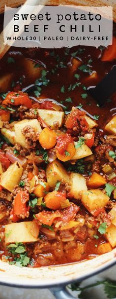 This Whole30 Sweet Potato Beef Chili is paleo, hearty, and the perfect fall comfort food. It's full of fiber and one serving meets your entire daily recommended value of protein.