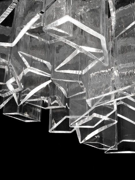 DANIEL LIBESKIND, LASVIT ICE CHANDELIER: clear glass cells blown into angular molds.