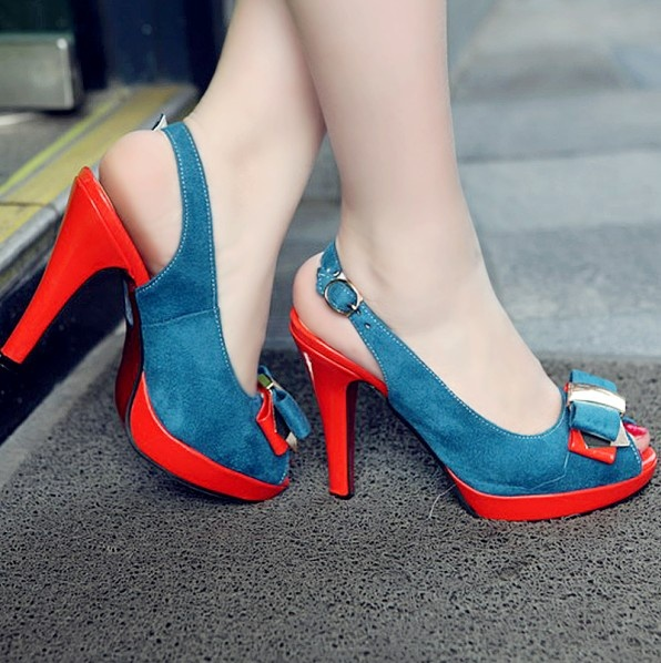 Color Block Bowknot Design Fish Mouth Shoes Blue