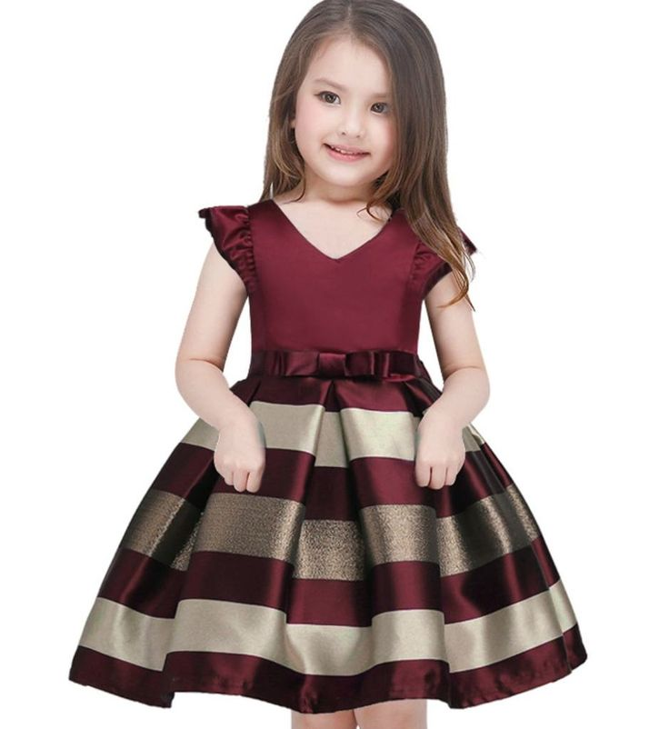 Stripe Dress-Cute Sweetheart Neckline Ruffle Cap Sleeve Knee Length Baby Infant Toddler Little & Big Girl Party Dress With Bow Sash Belt. Available from 2 - 10 years. Material: Polyester, cotton, lace. Colors: Burgundy & Royal Blue. Please do compare your little girls measurements with our size chart below (True to size).