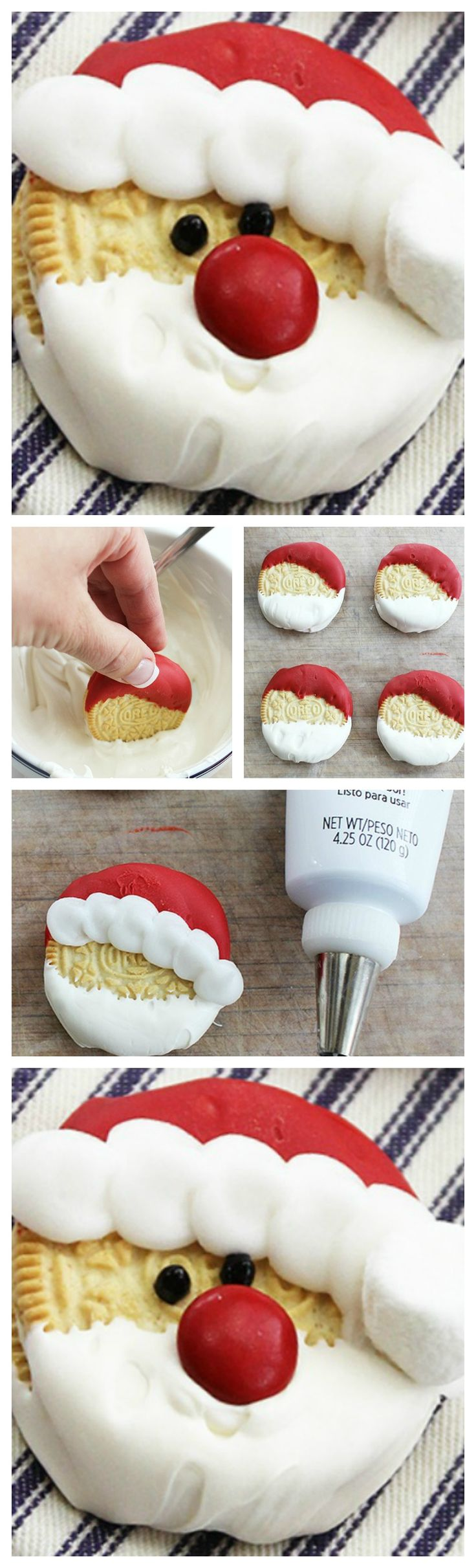 Santa Oreos ~ These darling Santa Oreos are a cinch to make (truly!), and they are sure to be a hit with kids of all ages.