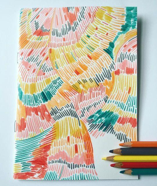 sandradieckmann colourful sketchbook, markmaking. …