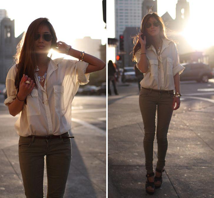 Sheer blouse, khaki skinny jeans and Balenciaga cork platform sandals
