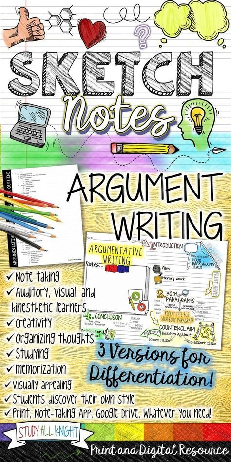 Teaching argument writing structure? Sketchnotes are creative, hands-on, auditory, personal, and brain-friendly fun! This argument writing activity will increase your students' test writing skills, achievement, and knowledge. Get this activity as a PDF version for print, Notability app, One Note, and a Google Drive version($)