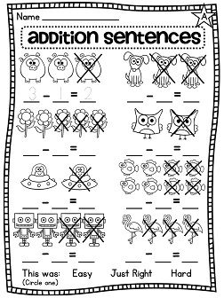 Subtraction sentences worksheets to practice subtracting pictures - so great for students who struggle with math to visually see the crossing out