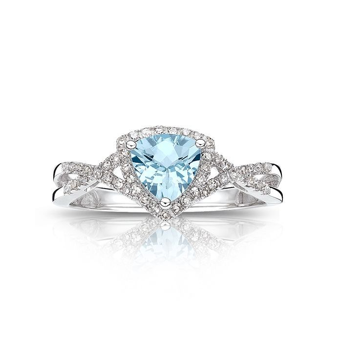 Aquamarine And Diamond Ring In 10k White Gold March Birthstone Jewelry Birthstone Jewelry Aquamarine Jewelry