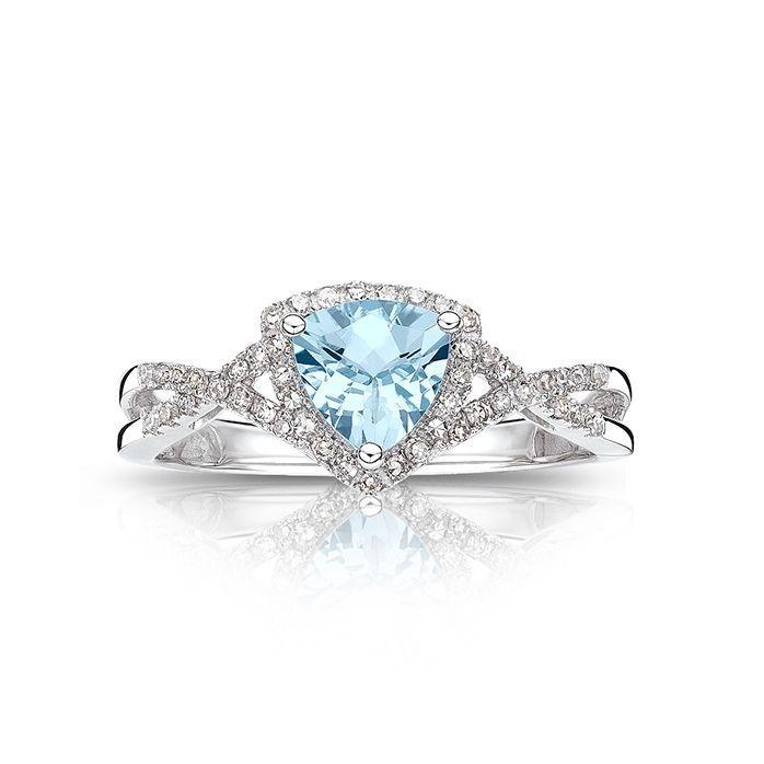 Aquamarine And Diamond Ring In 10k White Gold March Birthstone Jewelry Birthstone Jewelry Aquamarine Jewelry