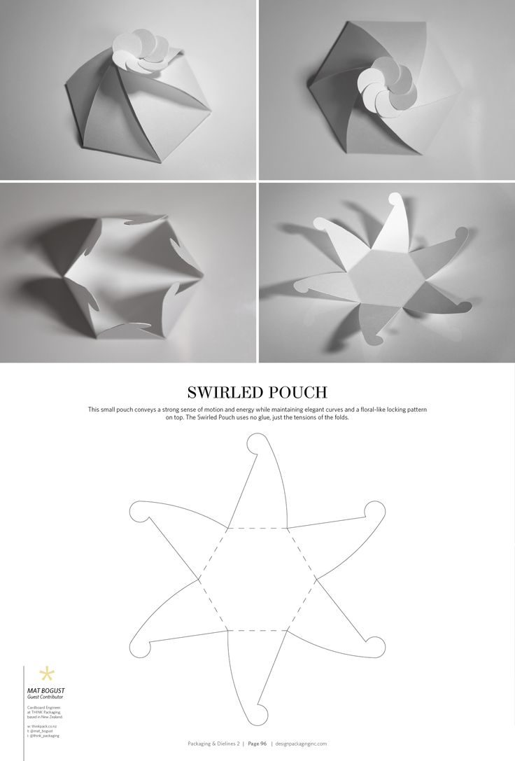 Swirled Pouch – FREE resource for structural packaging design dielines