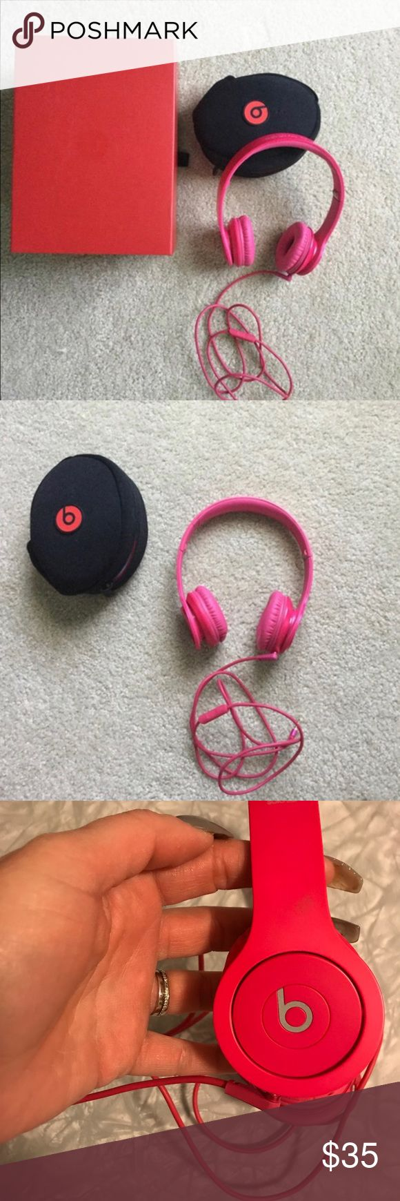 Headphones Pink HD Solos, perfect condition, comes with travel case, box, and care guide. Beats by Dre Accessories