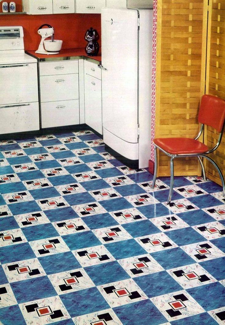 Vintage home style: Vinyl floor tiles in square patterns ...