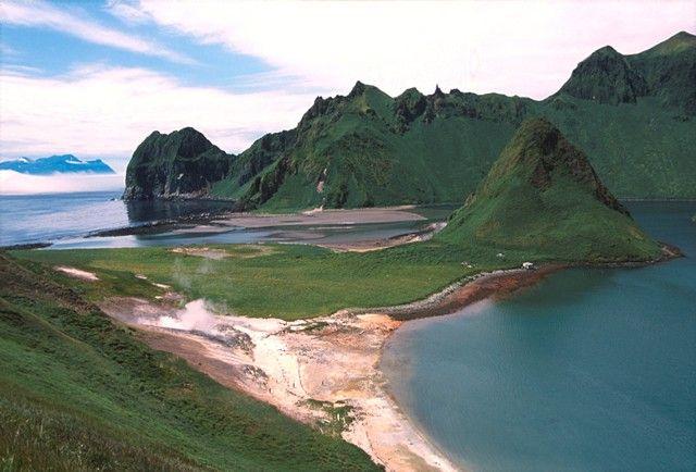 Caldera of Ushishur, Kuril Islands, Russia, last eruption - 1884
