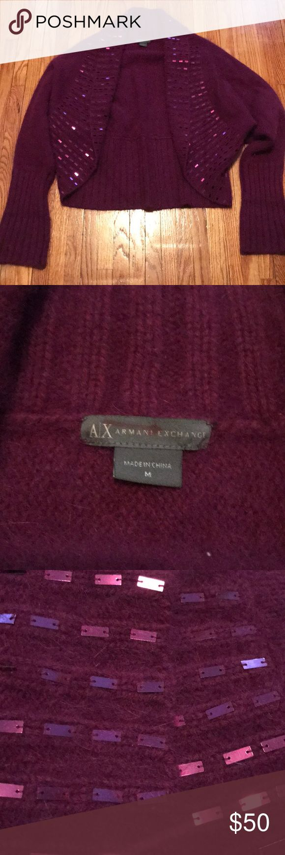 Mulberry Colored Bolero/Sweater Armani Exchange Mulberry colored sweater with sequins. This looks so fantastic on, such a statement! Wear sleeves long or cuffed, either way looks great. One once, excellent condition! Angora rabbit hair and nylon, dry clean only A/X Armani Exchange Sweaters
