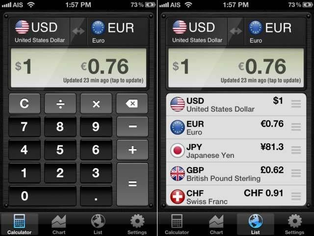 """Currency Converter HD"" - Useful Finance App (http://www.mopapp.com/apps/iphone/501984287--Currency-Converter-HD-money-calculator-with-exchange-rates-for-150-foreign-currencies)"