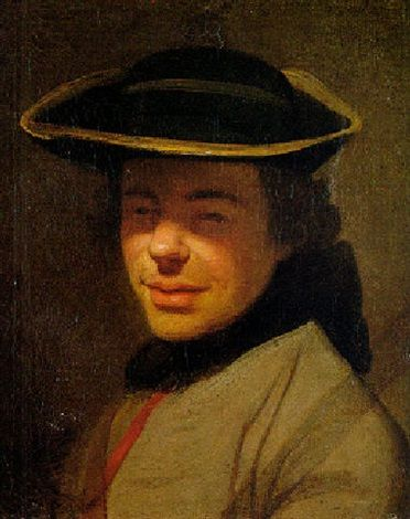 Portrait of a young officer wearing a hat by Joseph Ducreux