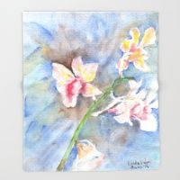 Throw Blanket featuring Tropical Orchid by Ai Store
