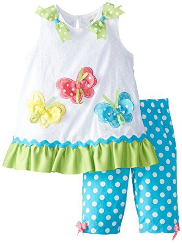 Rare Editions Baby Baby Girls' Butterfly Applique Pant Set