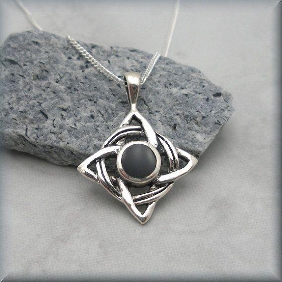 Black Onyx Celtic Knot Necklace Irish Jewelry by BonnyJewelry, $24.00