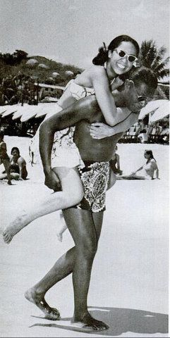 """Nat """"King"""" Cole honeymooning with wife Maria in Mexico in 1948. This photo appeared in the April 1965 issue of Ebony which paid tribute to the legend after his untimely death from lung cancer at age 45."""