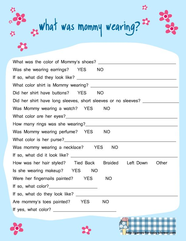 Baby Boy Shower Game Ideas | free printable what was mommy wearing game for baby shower in blue ...