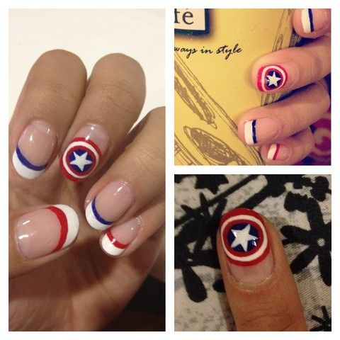 """The First Avenger"" Captain America Shield, White French Tip & Red/Blue Line Nails: Captain America"