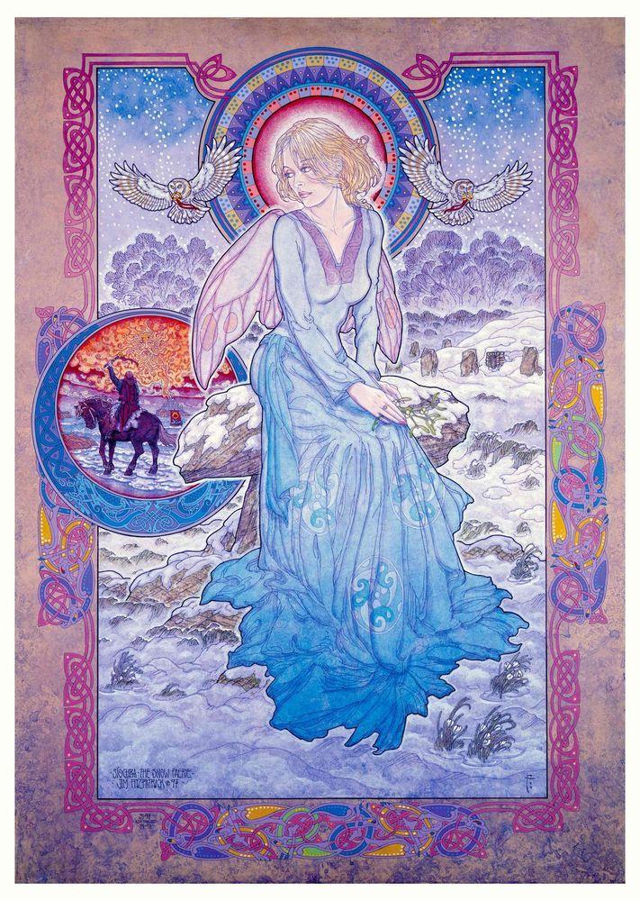 Irish Artist Jim Fitzpatrick Celtic Mythology Art Síochra Snow Fairy SIGNED  #VINTAGECELTICMYTHOLOGY