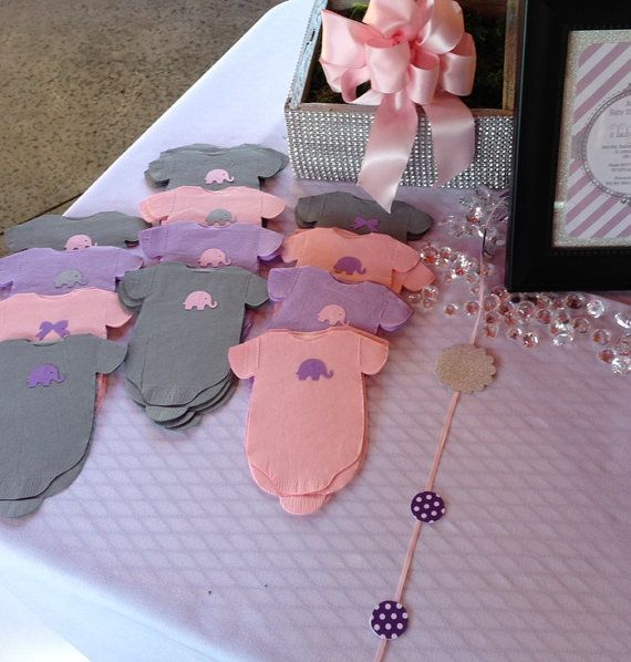 Pack of 30 Gray and Purple Lilac Baby shower 'shirt' paper napkins or banner decoration.  Choose elephant, bow, owl or rattle.