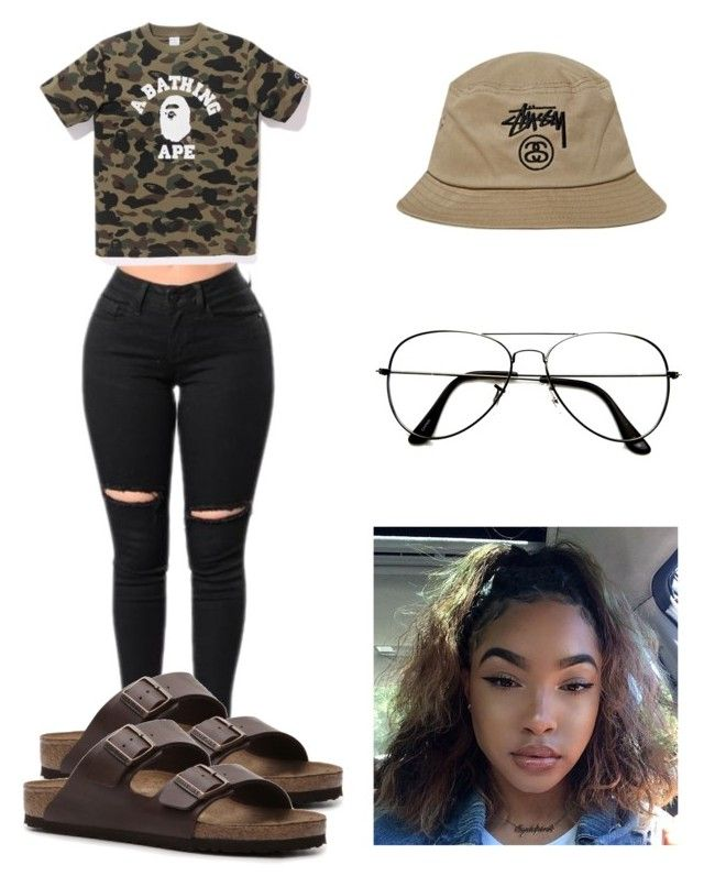 """""""Untitled #19"""" by euphoricish on Polyvore featuring Stussy, A BATHING APE, Birkenstock and ZeroUV"""