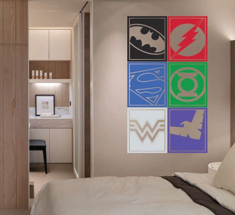 Large Superhero Logo Justice League Batman Flash By HallofHeroes