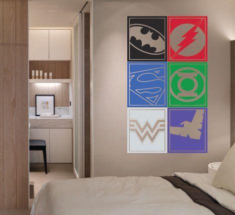 Large Superhero Logo Justice League Batman Flash By HallofHeroes