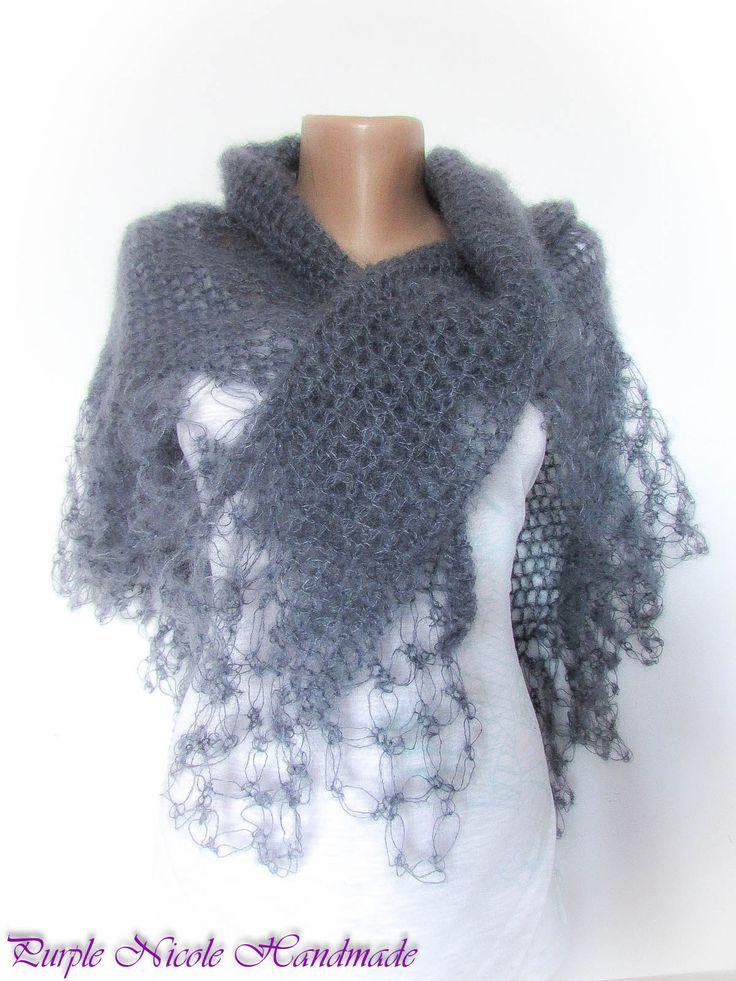 Storm in March - Handmade Beautiful mohair wool Crocheted Shawl / Comforter / Neckwarmer by Purple Nicole (Nicole Cea Mov)