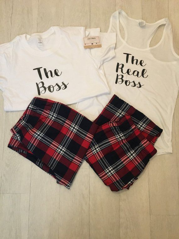 1cd715fee3 The Boss PJS, His & Hers Pjs, Tartan Pyjamas, gift, bride to be, couple PJ  Set, couples set, matching pjs, personalized set