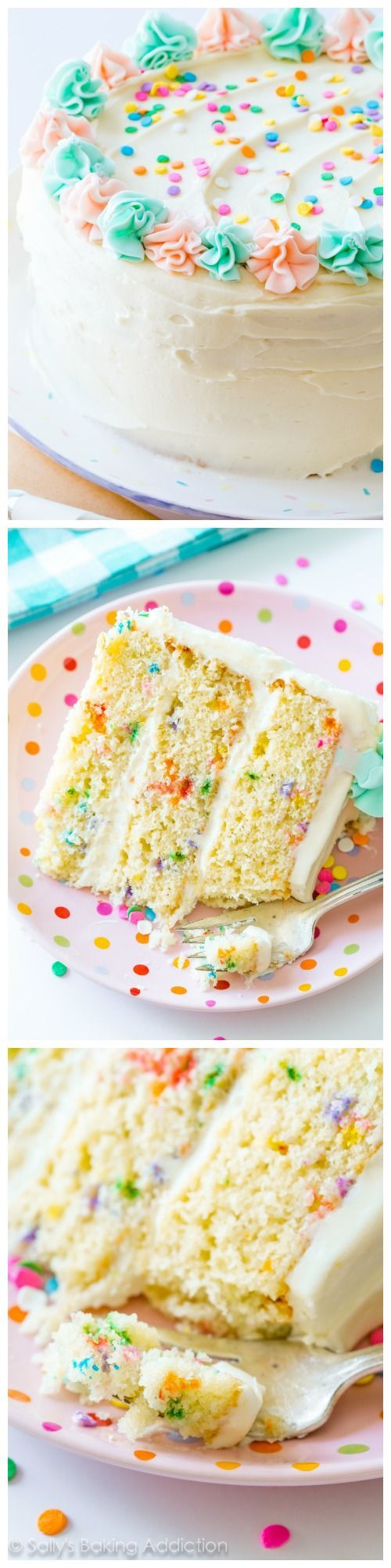 Funfetti Layer Cake is perfect for any celebration! Ditch the box mix and learn how to make it completely from scratch using this detailed homemade recipe!