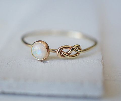 Opal Ring - 14k Gold Ring - Infinity Knot Ring - Stacking Ring