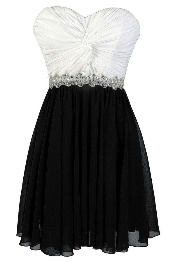 High Contrast Twisted Chiffon Black and White Sequin Party Dress  www.lilyboutique.com