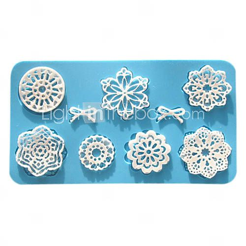 [USD $ 6.99] Floral Silicone Baking Mold, Mold size 7x4 inch, Finished Lace Size 6x3 inch