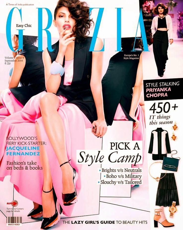 Jacqueline Fernandez on the Cover of Grazia Magazine - September 2014.