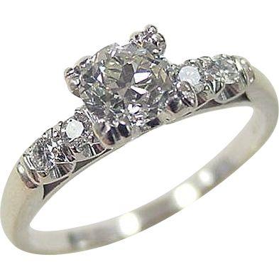 Vintage 18k White Gold .72 ctw Diamond Engagement Ring ~ Circa 1950's