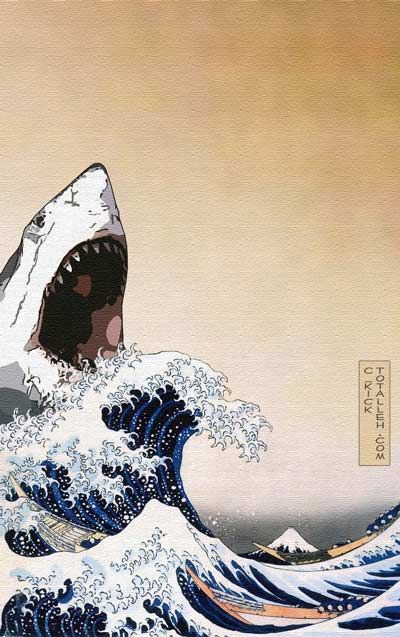 Love shark week for all the creative ways people show their enthusiasm for sharks. Cool way of using Japanese woodblock art!