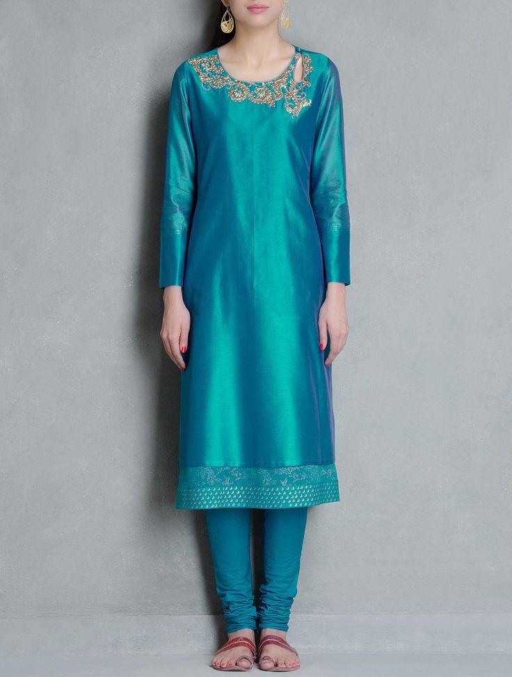 Buy Turquoise-Golden Gota-Patti Embellished Khari Block Printed Chanderi Layered Kurta Online at Jaypore.com