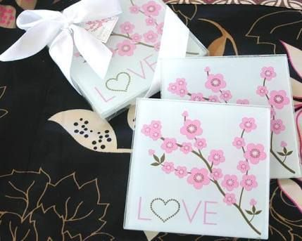 Wedding With A Cherry Blossom Theme Make Sure To Score These Lovely Practical AND Affordable Glass Coaster Sets From Bliss Weddings Market Each Favor