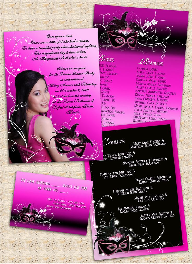 18th birthday invitation card masquerade theme 18th
